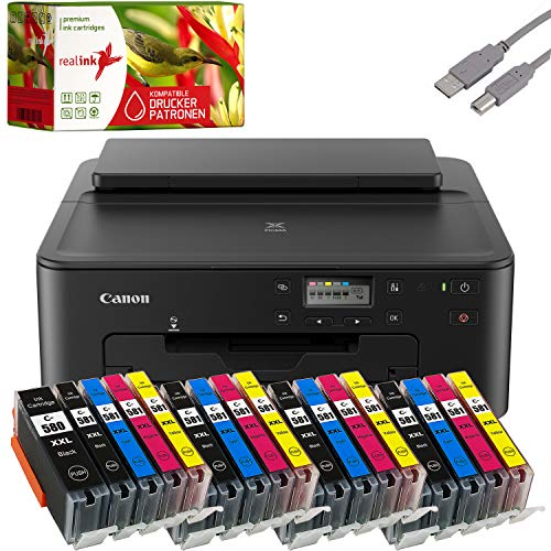Canon PIXMA TS705 Tintenstrahldrucker Fotodrucker + USB Kabel & 20 komp. realink Druckerpatronen (Drucken per USB oder WLAN) - Originalpatronen ausdrücklich Nicht im Lieferumfang!