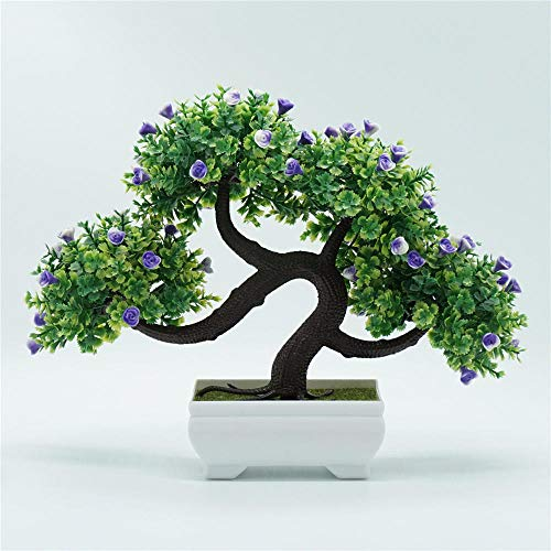 Yeslln Bonsai Artificial Árboles Plantas Artificiales Bonsái Decorativo Abanico de Belleza, Violeta