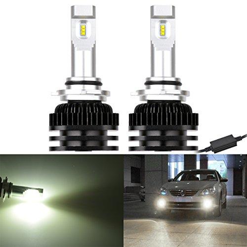 NATGIC 9005 9006 H10 HB3 HB4 Ampoules antibrouillard à LED Puces CSP très lumineuses pour la conduite Kit de lampes de feux de jour 6000K et 2000LM / Ampoule au xénon blanc (pack de 2)