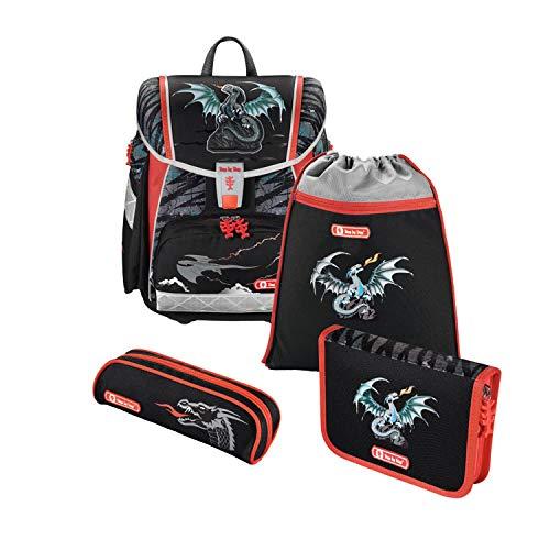 """Step by Step Schulranzen-Set Touch 2 """"Fire Dragon"""" 4-teilig, grau-schwarz, Drachen-Design, ergonomischer Tornister mit Reflektoren, höhenverstellbar für Jungen 1. Klasse, 21L"""