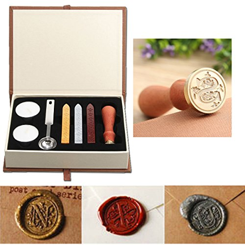 Seal Wax Kit,PUQU Vintage Initial Letters A-Z Alphabet Wax Badge Seal Stamp Kit Wax Set Tool Gift(S)
