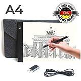 Professioneller Ultra Slim A4 Leuchttisch mit USB Ladegerät und hochwertiger Filzhülle | Lichtpad...