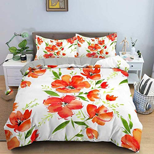 Juego de ropa de cama con diseño de flores, tamaño Queen King, para el hogar, funda de edredón con funda de almohada, 2/3 piezas de tela de lujo
