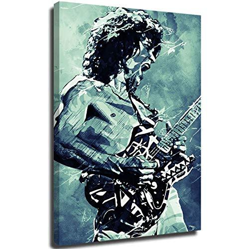 Eddie Van Halen Decoración del Hogar Cuadros Lienzo Impreso Clásico Rock Star Van Halen Jump Pintura Decoración de la Pared del Hogar Enmarcado Listo para Colgar 24 x 80 cm