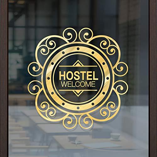 Welkom bij de muur plakken creatieve glazen deur schuifdeur Sticker Hotel raamdecoratie Stickerself Stick waterdichte waterdichte zonnebrandcrème