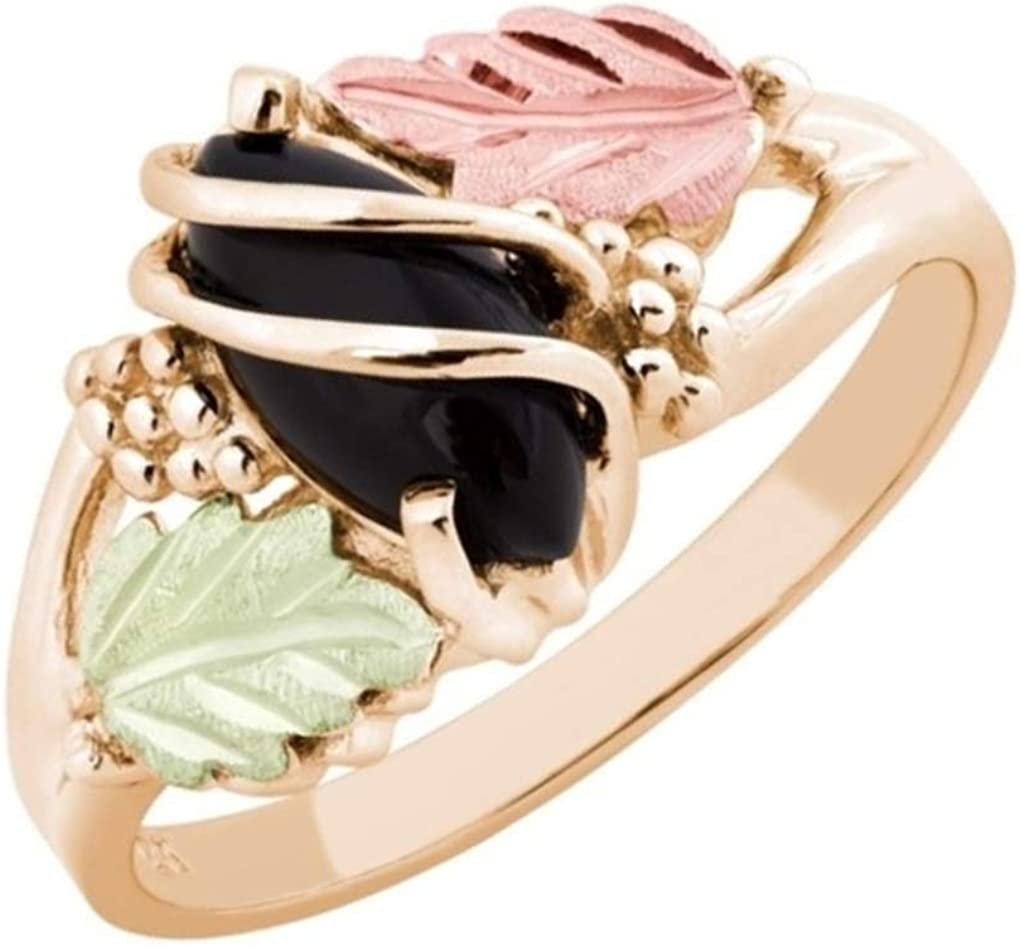 Marquise Onyx Wrap Ring 10k Max 46% OFF Tampa Mall Yellow and 12k Green Gold Rose Bla