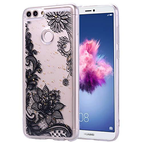 Weich Bling Gel Gomma für Huawei P Smart/Huawei Enjoy 7S,TPU Sparkle Glitter Silikon Durchsichtiges Klar Transparent Bunte Flower Cartoon Ultra Dünn Slim Kreative icht Flexible Hülle