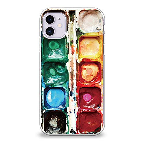 CasesByLorraine Compatible with iPhone 11 Case, [for Men & Women] Watercolor Paint Box Flexible TPU Soft Gel Protective Cover for iPhone 11 6.1' (2019)