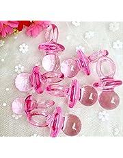 CHSYOO 100 x Mini Ciuccio Deco Set, Confetti Tavolo Decorazione Confetti Streudeko Giveaway Regalo per Battesimo Babyshower Baby Shower Matrimonio Compleanno Kids Party, Rosa