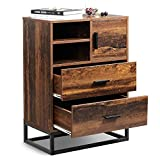 WLIVE 2 Drawer Dresser, Chest of Drawers with Open Shelf, Wood Storage Organizer Unit with Sturdy Metal Frame for Bedroom and Living Room, Rustic Oak