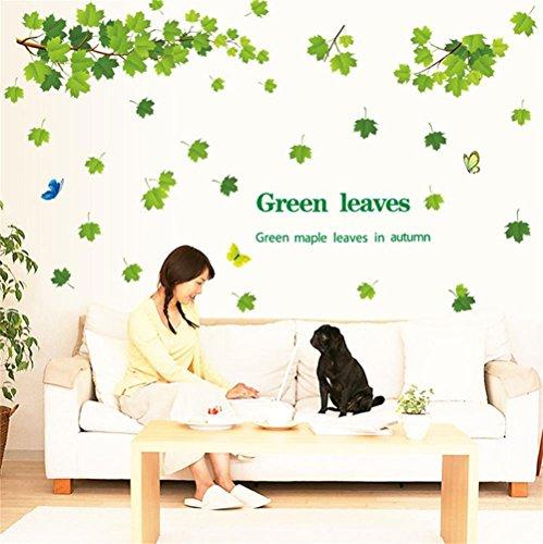 ufengke Wandtattoos Grüne Ahorn Blätter im Herbst Wandaufkleber Wandsticker Ahorn AST & Bunte Schmetterlinge Wandbild im Wohnzimmer Schlafzimmer TV-Wand