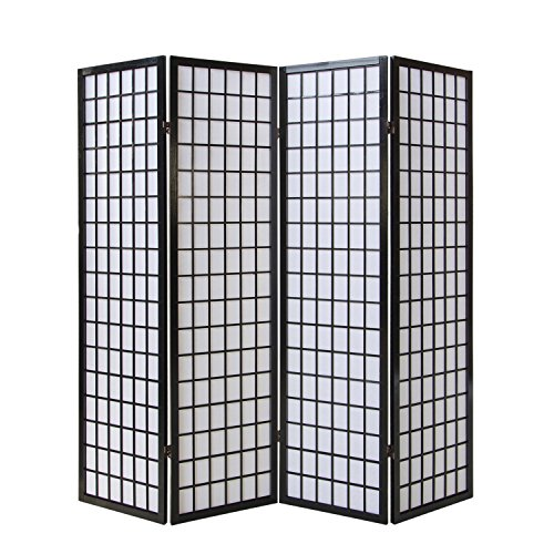 Homestyle4u 164, Paravent Raumteiler 4 teilig, Holz Schwarz, Reispapier Weiß, Höhe 175 cm