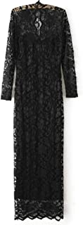 Fashion Ladies' V-neck Slim Scallop Neck Lace Women Maxi Dress Long Sleeve Wedding Evening Size:l Black G0123