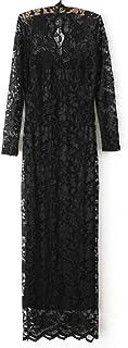 فستان ماكسي بقبة على شكل حرف V باكمام طويلة، مقاس: L - اسود، G0123