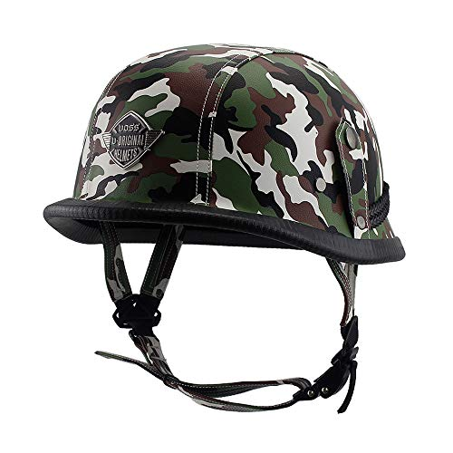 Woljay Leather Motorcycle Goggles Vintage Half Helmets Motorcycle Biker Cruiser Scooter Touring Helmet Camouflage (Gray)