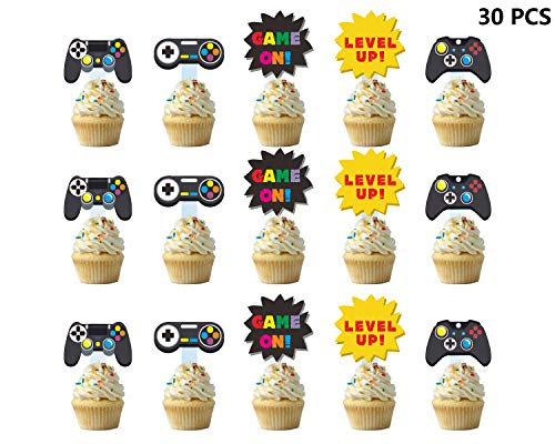Weimaro 30 Pieces Video Game Party Cupcake Toppers, Cupcake Picks Cake Decorations Perfect For Kids Gaming Theme Party, Birthday Party Inspired Supplies