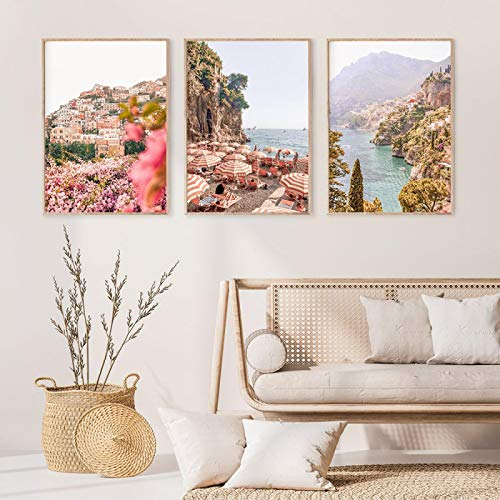 DamingniuPositano Canvas Painting Colour Wall Art di Coste Alfafi Architectural Art Poster Printing Painting Home Decor