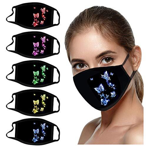 Jamicy 5 Stück Mundschutz mit Aufdruck Motiv für Erwachsene, Atmungsaktive Staub Mundschutz Mundbedeckung Stoff Wiederverwendbar Mouth Protection für Laufen, Radfahren