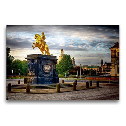 CALVENDO Premium Textil-Leinwand 75 x 50 cm Quer-Format Denkmal Goldener Reiter Dresden, Leinwanddruck von Dirk Meutzner