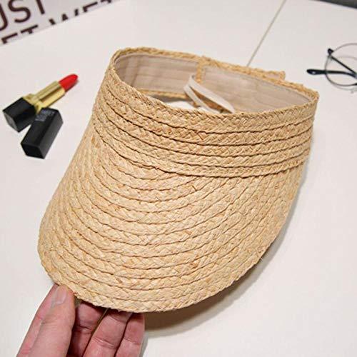 DKTD Sombrero para el Sol Señoras Verano Hecho A Mano Tejido Rafia Paja Visera Sombrero Vacío Superior Borde Ancho Protección UV Ajustable Plegable Playa Pico Pico