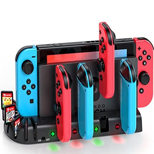 KDD Controller Ladegerät Dock Station Kompatibel mit Nintendo Switch Joy Con, Controller Ladestation mit 8 Spiele Lagerung