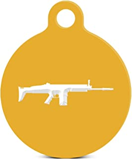 Scar-H Round Keychain with Tab engraved scar h assault rifle Gold