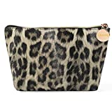 Makeup Bag, Cosmetic Bag for Women Waterproof Cute Pouch Toiletry Travel bag and Brush Organizer (Leopard print grey)