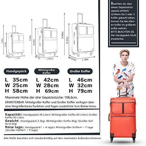 COOLIFE COOLIFE Stoff-Koffer Rollkoffer Leichtgewicht Reisekoffer Vergrößerbares Gepäck mit TSA-Schloss und 4 leiser Rollen (Schwarz, Großer Koffer)