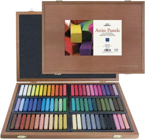 PRO ART Square Artist Pastel Set 72 Assorted Colors Wood Box