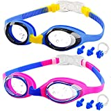 Kids Swimming Goggles, 2-Pack kids Goggles for Swim, Anti-fog, Waterproof, NO Leaking and UV Resist, Quick-Adjustable Silicone Strap Goggles for Teens Child Boys Girls 3-15 years old.