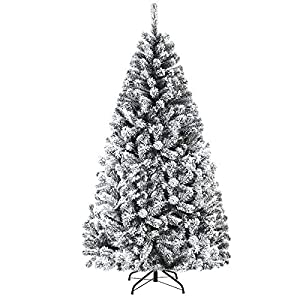 Goplus Artificial Christmas Tree, Snow Flocked Hinged Pine Tree, Premium PVC Needles/Solid Metal Stand, Xmas Full Tree for Indoor and Outdoor (6FT) by Superbuy