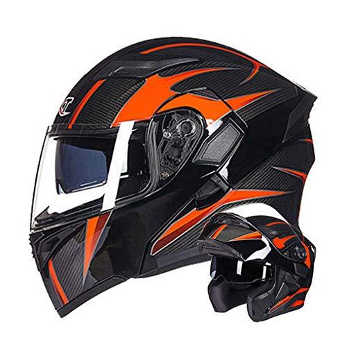 WEW Casco Modular de Motocicleta para Hombre/Mujer · Textura de Fibra de Carbono Negro-Naranja Casco Integral de Moto Casco abatible para Adultos con Lente Doble Casco de protección,58~60cm L