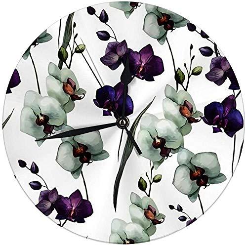Butty Moderne wandklok groot 9,8 inch mooi met orchideeënbloemen fon rond keukenklok