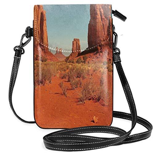Jiger Women Small Cell Phone Purse Crossbody,Sunny Hot Day Monument Valley Arid Country Primitive Nation Arizona USA