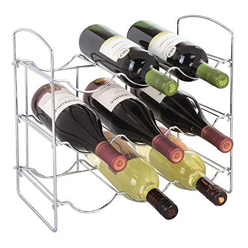 mDesign Portabottiglie ? Porta Bottiglia di Vino in Metallo con 9 vani ? Porta Bottiglie Ideale per la conservazione del Vino ? Portabottiglie Vino ? Cromato