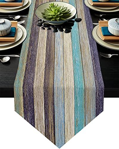 QAZQAZ Camino de Mesa Moderno con Textura de Madera Vintage para Mesa de Comedor en casa, Mantel de Navidad para Fiesta de Boda, decoración-33x229cm