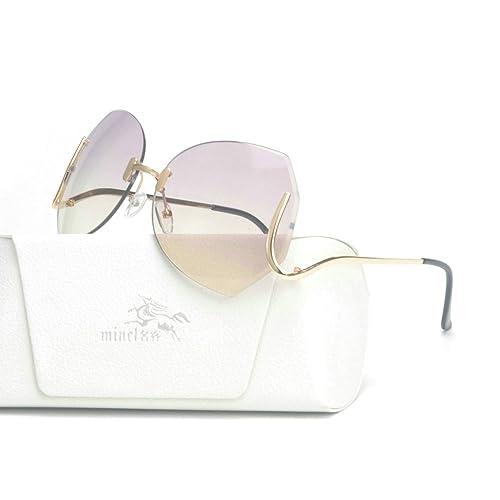 baca9f4eb72ea MINCL unique Design Rimless Sunglasses Clear and Color With Box