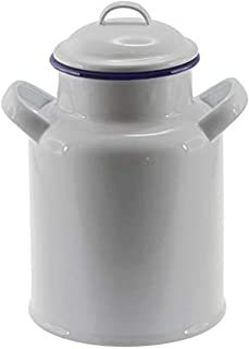Falcon Enamelware Milk Can 14cm, White with Blue Rim, Pack of 2, FE2880W