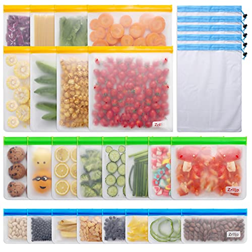 29 Pack Reusable Bags - 24 pack BPA Free Reusable Freezer Bags (8 Sandwich...