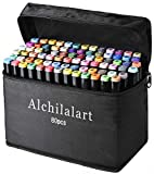 80 Colors Fabric Marker Pen Set, Permanent Dual Tips Marker Pens Art Markers with Zipper Carrying Bag, Ideal for Kids Adults Drawing, Sketching, Highlighting & Underlining