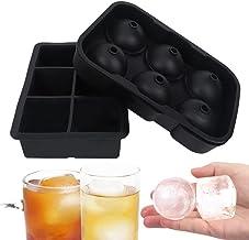 Grands plateaux de glaçons pour cocktails, boule de glace en silicone de qualité alimentaire et ensemble de grille, 6 comp...
