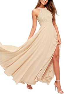 Women's Halter Neck Bridesmaid Dresses Long A-Line Split Chiffon Lace Formal Evening Gown