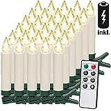 30 LED Weihnachtsbaumkerzen Kabellos Inkl. Batterien Warmweiß Fernbedienung Timerfunktion Flackern Dimmbar Kerzen
