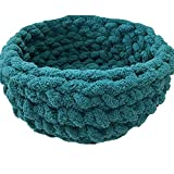 Cat Bed,Chunky Knit Cat Bed,Pet Bed,Pet Cave,Pet Bedding,Teal Chenille Yarn Kitty Cave,Handmade Chunky Knit Cat Cave-20