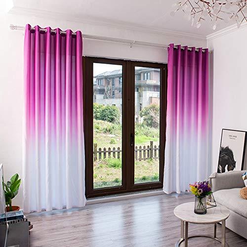 Gradiente de Color Cortina Opaca, Tratamiento de la Ventana de Tul Voile Drapeado Cenefa Panel Tela Cortina Decorativa Salón Dormitorio Lápiz Plisado Fácil de Instalar 1 Panel