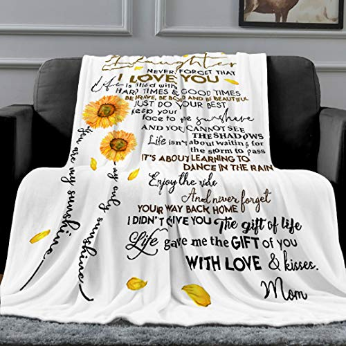 MADISON GRIFFITHS Sunflower Love Letter to My Daughter Ultra-Soft Fleece Bed Blanket - Warm Bed Throws - for Home (80x60In)