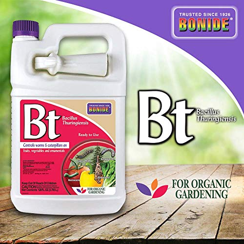 Bonide (BND807 - Caterpillar and Worm Killer, Bacillus Thuringiensis (Bt) Ready to Use Insecticide/Pesticide Defense Spray (1 gal.)