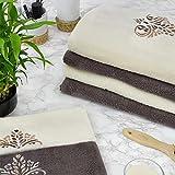 Zwoltex Set Asciugamani da Bagno 6 pz in Spugna 100% Cotone Egiziano Made in EU Telo Bagno Viso e ospite in Confezione Regalo Set Completo (Panna e Chocolate)