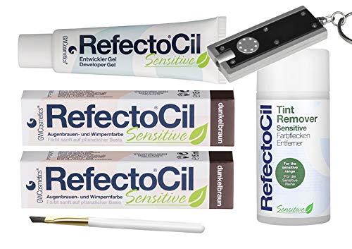 Refectocil Sensitive SET Augenbrauen/Wimpernfarbe 2 x dunkelbraun - Entwickler & Farbfleckenentferner & Gratis Taschenlampe