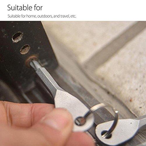 4PCS Mini Pocket Screwdriver Set Keychain Outdoor Tool Kit Stainless Steel Black+Silver